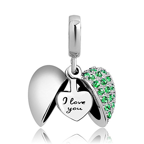 LovelyJewelry Girlfriend I Love You Heart Charm Dangle Beads for Charms Bracelet (Green)