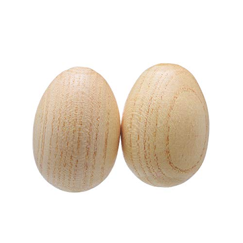 2 Pcs Natural Wood Egg Shaker Musical Percussion Instrument
