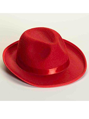 Deluxe Felt Gangster Hat - Forum Novelties Men's Deluxe Adult Novelty Fedora Hat, Red, One Size