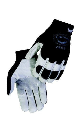 - Caiman 2902-5 Large Elastic Cuff with Hook and Loop Closure and Pearl Goat Grain Leather Multi Activity Glove, Pearl and Black