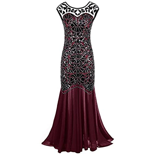 Kayamiya Womens 20s Beaded Floral Maxi Long Gatsby Flapper Prom Dress 2X Burgundy
