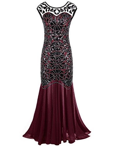 Kayamiya Women's 20s Beaded Floral Maxi Long Gatsby Flapper Prom Dress M Burgundy