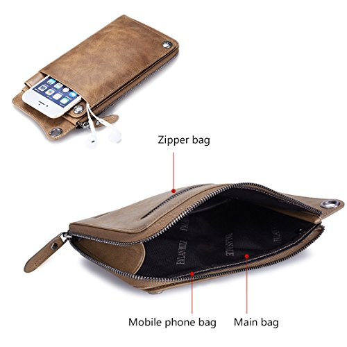 Clutch Men Long for Genuine Pocket Front Coffee Slim Bifold Purse Leather Party Wallet TnnfP