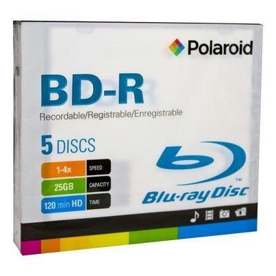 Price comparison product image Polaroid PRBRAYR005J BD-R 25GB 120-Minute 4x Recordable Blu-Ray Disc, 5-Pack Slim Case