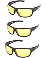 Ausum Night Vision Anti Glare Sunglasses Driving Goggles Yellow With Box (Combo of 3)