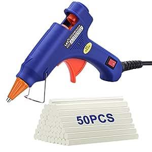 TOPELEK Mini Pistola de Silicona Caliente con 50 psc Barras de Pegamento Alta Temperatura, Kit de Pistolas de Encolar para Manualidades Artesanía de Bricolaje Reparaciones Rápidas (20 Vatios,Azul)