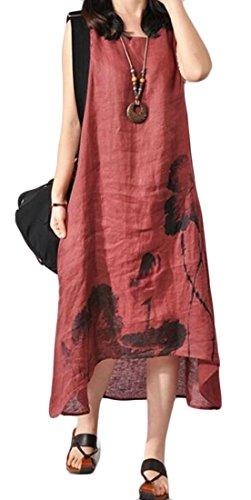 In Casuale Senza Irregolare Cotone Maxi Rosso Retrò Maniche Vestito Lenzuola Domple Stampato Womens Vino P6xUgqw