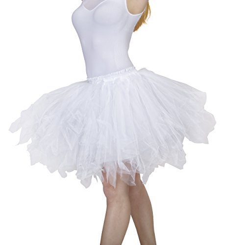 Dancina Women's Adult Vintage Petticoat Tulle Tutu Skirt [Sticker XXL],White,Plus Size