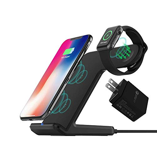 Wireless Charger with QC3.0 Adapter DoSHIn 2 in 1 Wireless Charger Stand 10W Fast Charger Docking Station Compatible with iWatch Series 4/3/2/1,iPhone Xs/XR/XS MAX/X/8Plus/8, Samsung Galaxy S10/S9/S8