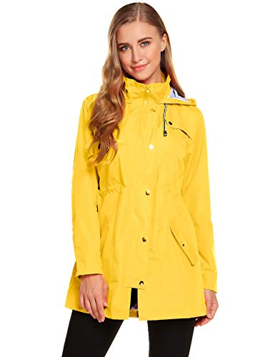 ZHENWEI Womens Lightweight Hooded Waterproof Active Outdoor Rain Jacket Yellow
