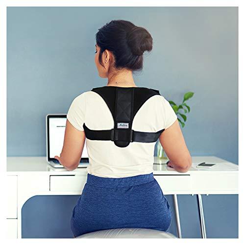 Maldora Posture Corrector - Adjustable Clavicle Support Brace for Men & Women - Device Improve Bad Posture, Shoulder Alignment, Upper Back Pain Relief (28-40) - Bonus Neck Brace