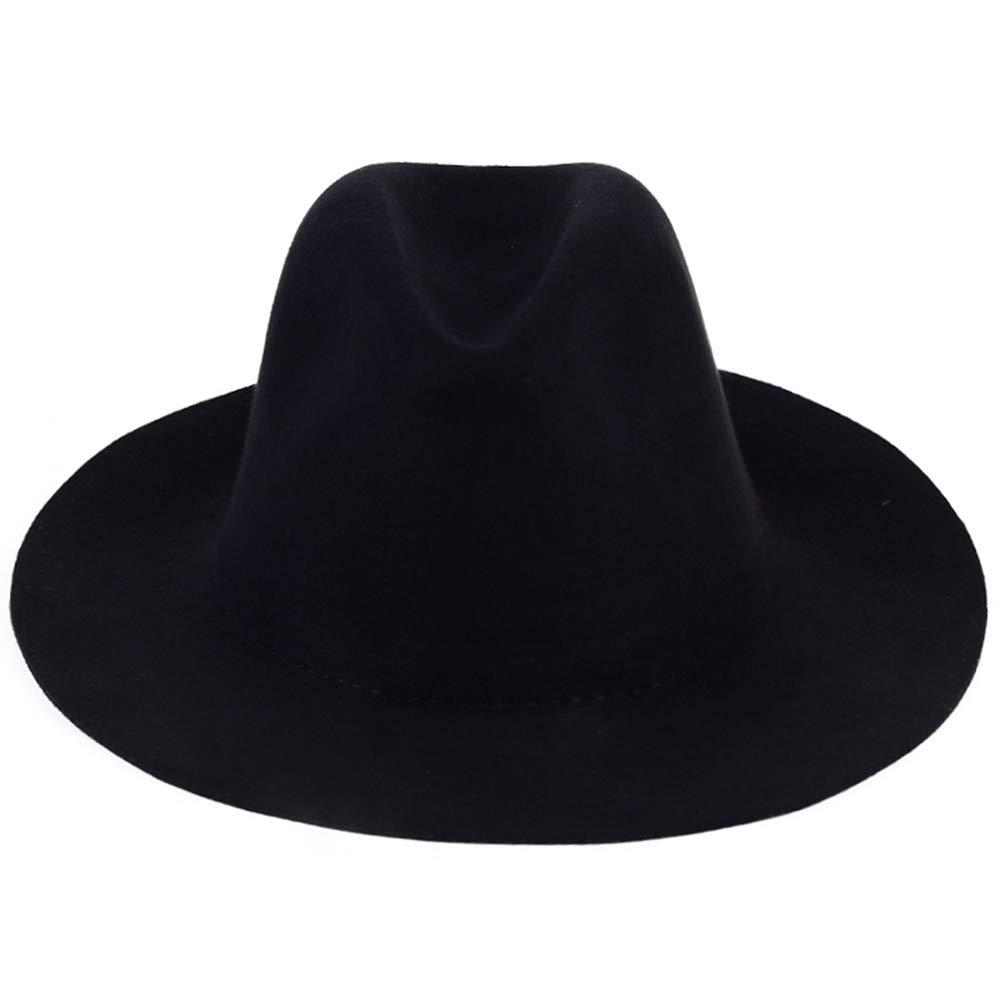Unisex Large Brim Fedoras Hats Solid Color Trilby Hat Vintage Cashmere Jazz Caps