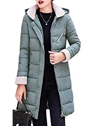 TD-CACA Women's Winter Down Mid Long Jacket Coat Quilted Hood Thicker Outerwear