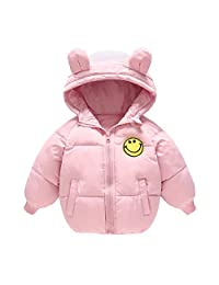 ALLAIBB Boy Girl Down Cotton Coat Solid Color Smile Face Eears Winter Warm Outerwear size 110 (pink)