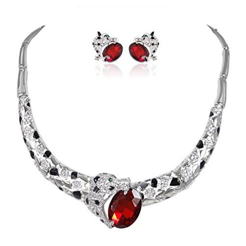 EVER FAITH® Léopard Collier Boucle d'Oreilles Parures Rouge Cristal Autrichien A13163-6