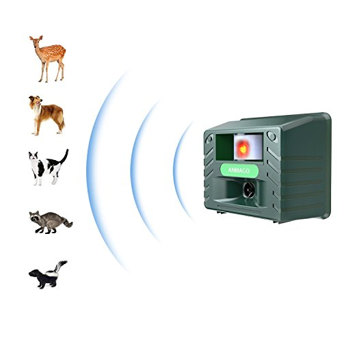 Animal Repeller Ultrasonic Repellent, Electronic Cat and Dog Repellent, Pest Animal Control Device with Motion Sensor & Strobe light - Repel Deer Raccoon Dogs Cats Chipmunk Rabbits Birds