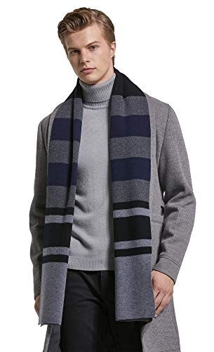 RIONA Men's 100% Australian Merino Wool Scarf Knitted Soft Warm Neckwear Striped Long Scarves with Gift Box (Black) ()
