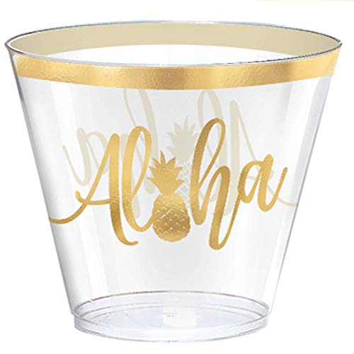 Amscan 350299 Aloha 9oz Plastic Tumblers Party Supplies, 9 oz, Multi]()