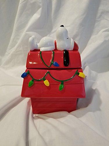 Snoopy Christmas Dog House Cookie Jar