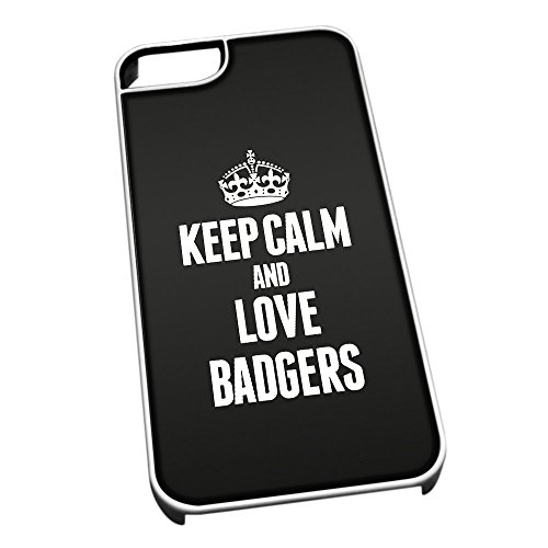 Bianco cover per iPhone 5/5S 2392nero Keep Calm and Love Badgers
