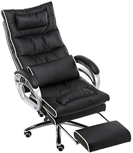 DFKDGL Silla Acolchado de Cuero PU Silla de Escritorio Masaje Almohada Lumbar Funcion de inclinacion con reposapiernas extendido y reclinable Adecuado para Office Lounge Comedor Cocina Do
