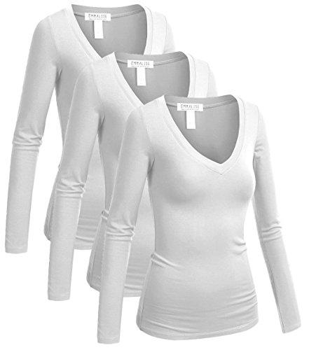 Emmalise Long Sleeve V Neck T Shirt Women Tee - 3pk-white,white,white, 2XL - V-neck Long T-shirt