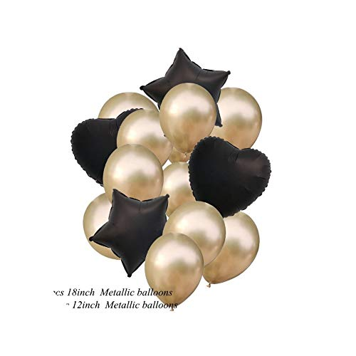 1 Set 12/18Inch Confetti Balloons Happy Birthday Party Helium Balloon Decorations Wedding Festival Balloon Party Supplies,Gold Confetti Black]()
