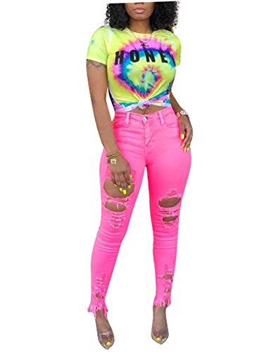 Women's Fashion Tee Shirts Tie Dye Letter Print Short Sleeve Irregular Blouse Tops Yellow Medium ()