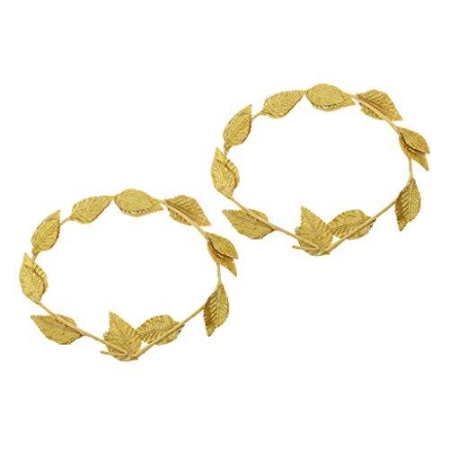 CUTICATE 2 Piece Greek Roman Costume Headbands Gold Leaves Laurel Headpiece Photo Props for Women Ladies ()