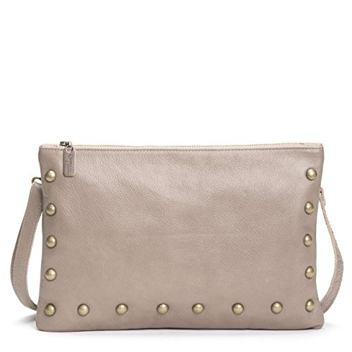 Taupe Italian Leather Medium Studden Crossbody Clutch by Brynn Capella Handbags