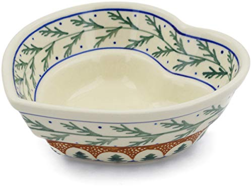 - Polish Pottery 6-inch Heart Shaped Bowl (Pine Boughs Theme) + Certificate of Authenticity