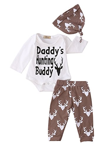 Newborn Baby Boys Funny Bodysuits with Leggings and Hat 3pcs outfit Clothes (3-6M, White)