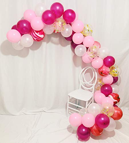 Sorive 80 Pcs Gold Confetti and Pink Agate Marble Balloons, Hot Pink and Light Pink White Latex Balloons Set for Birthday Party Decorations Wedding Baby Showers Christmas Festival Ceremony