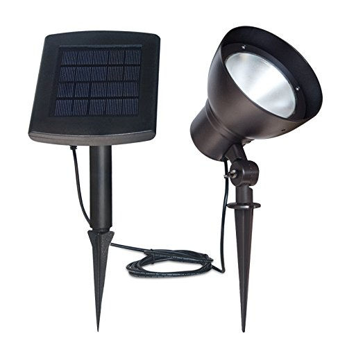 Kemeco KSP0105SP LED Cast Aluminum Solar Powered Adjustable Spotlight In-Ground for Outdoor Landscape Garden Lawn Plants Pathway Driveway Walkway Sidewalks Patio Yard ()