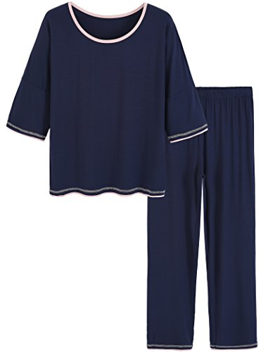 Latuza Women's 3/4 Sleeve Scoop Neck Pajama Set (2X Plus, Navy)