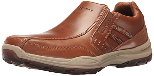 Shoes Leather Casual Men (Skechers USA Men's Elment Brencen Slip-on Loafer, Cognac, 9 M US)