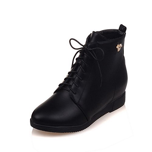 PU Allhqfashion Low Boots Low Top Black Women's Solid Closed Round Heels Toe qqUHzaFAnw