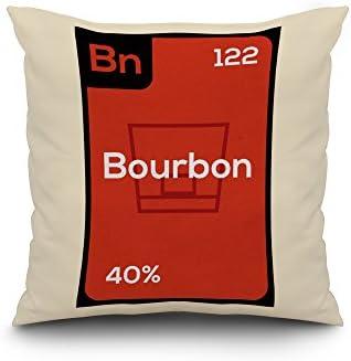 Periodic Drinks – Bourbon 20×20 Spun Polyester Pillow, White Border