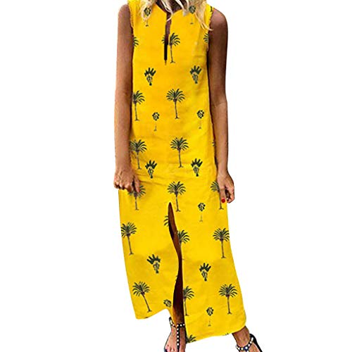 Sunyastor Women Dresses Summer Casual Bohemia Sleeveless Floral Print Maxi Dress Loose V-Neck Beach Tank Dress Long Dress Yellow
