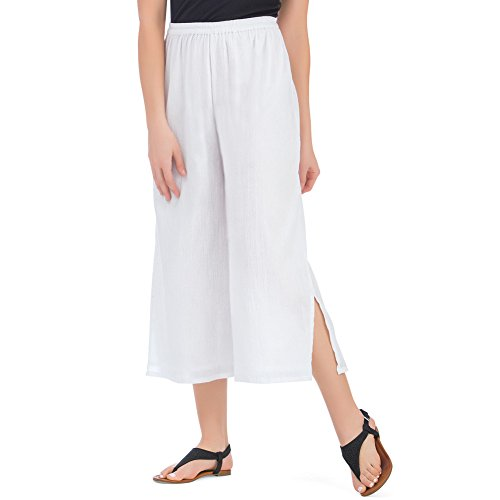 (Collections Women's Crinkle Gauze Wide Leg Elastic Waist Cotton Culottes, White, Medium)