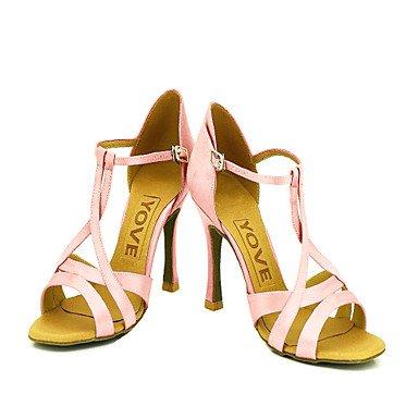 XIAMUO Anpassbare Damen Tanzschuhe Latein/Ballsaal Satin angepasste Ferse Pink, Nude, US5/EU 35/UK3/CN34