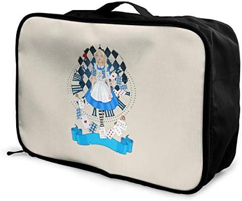 アレンジケース アリス イン ワンダーランド 旅行用トロリーバッグ 旅行用サブバッグ 軽量 ポータブル荷物バッグ 衣類収納ケース キャリーオンバッグ 旅行圧縮バッグ キャリーケース 固定 出張パッキング 大容量 トラベルバッグ ボストンバッグ