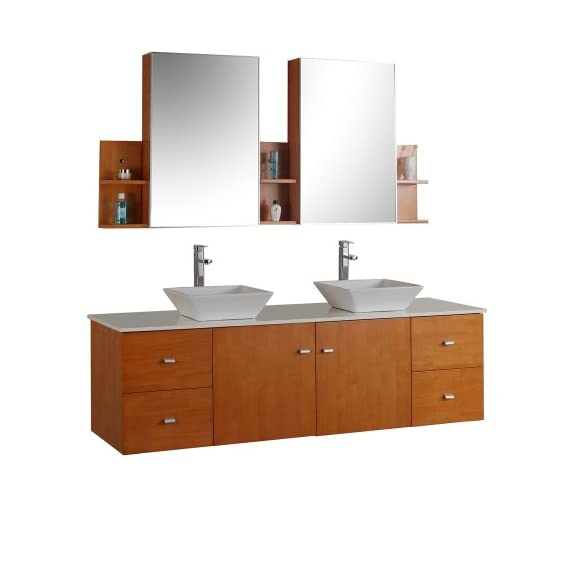 Virtu USA Clarissa 61 inch Double Sink Bathroom Vanity Set in Honey Oak w/ Square Vessel Sink, White Engineered Stone… - Bathroom Renovation - Featuring a minimal and floating design, the Clarissa offers simplicity while still providing an abundant amount of storage for your bathroom. Functional & Versatile - This bathroom vanity provides an abundance of storage with 2 functional doors and 4 functional drawers which are all installed on soft-closing hinges, creating an elegant bathroom experience. Easy Installation - Our factory assembled base cabinet is fully assembled for easy installation. - bathroom-vanities, bathroom-fixtures-hardware, bathroom - 41dvUiXZsXL. SS570  -