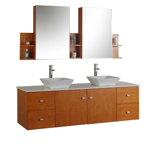 Virtu USA MD-457-S-HO Clarissa 61-Inch Wall-Mounted Double Sink Bathroom Vanity Set with Mirrored Cabinets and White Stone Countertop, Honey Oak Finish