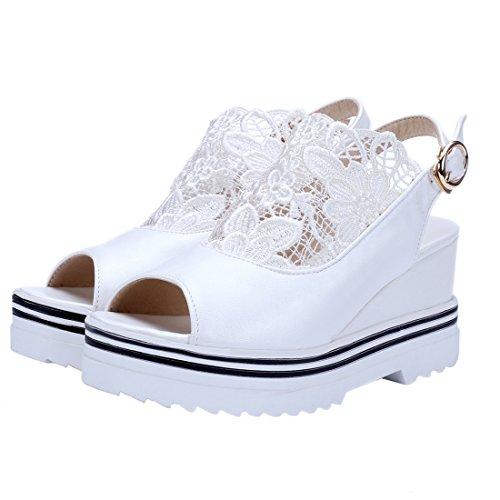 avec Bride Lace et Cheville Compensees UH de Toe à Fleur Femmes Blanc Peep Elegantes Douce Slingback Talons Sandales SnxwE80qEB