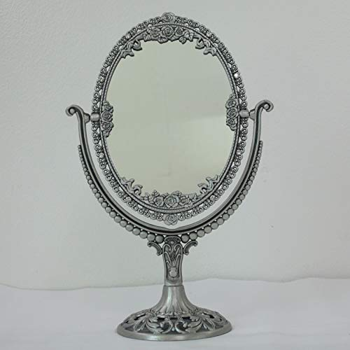 SEHAMANO Vintage Oval Double Sided Embossed Roses Frame Makeup Table Mirror for Bathroom Bedroom Dressing, Antique Decorative Vanity Cosmetic Metal Stand Mirror (Large, Tin (Matt Silver))