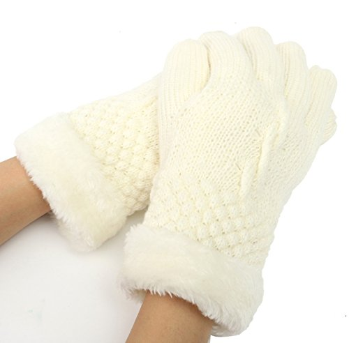 1Pcs (1 Pair) Stately Chic New Women's Mittens Warm Warm Glove Outdoor Windproof Wrist Decoration Motorcycle Warming Colors White