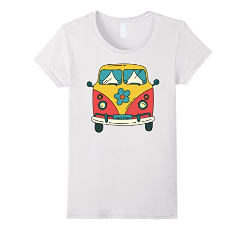 60s Shirt (Womens Vintage Hippie Bus / Van T-Shirt - Flower Power 60s & 70s Large White)