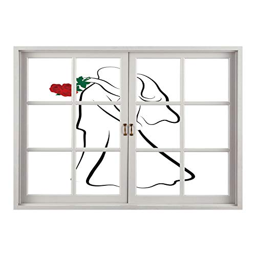 SCOCICI Wall Mural, Removable Sticker, Home Décor/Wedding,Classical Simple Silhouette of Wedding Couple in Love Red Roses Happy Moments Decorative,Vermilion Black/Wall Sticker Mural
