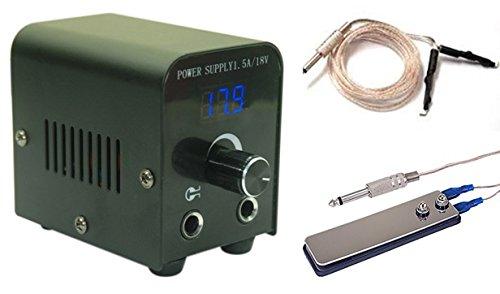 Lcd Digital Tattoo Power Supply Kit w/ Clip Cord & Flat Foot Pedal